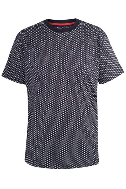 Plus Size  D555 Navy Printed Canton T-Shirt