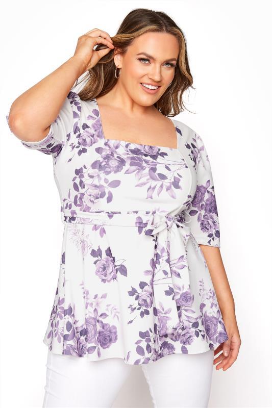 Tallas Grandes YOURS LONDON Purple Flower Square Neck Peplum Top