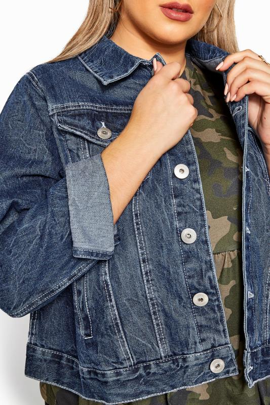 Großen Größen Denim Jackets Mid Blue Cropped Denim Jacket