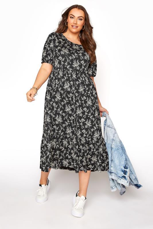 Black Floral Frill Hem Short Sleeve Dress_B.jpg