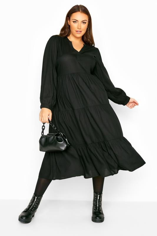 Plus Size  LIMITED COLLECTION Black Tiered Smock Midi Dress