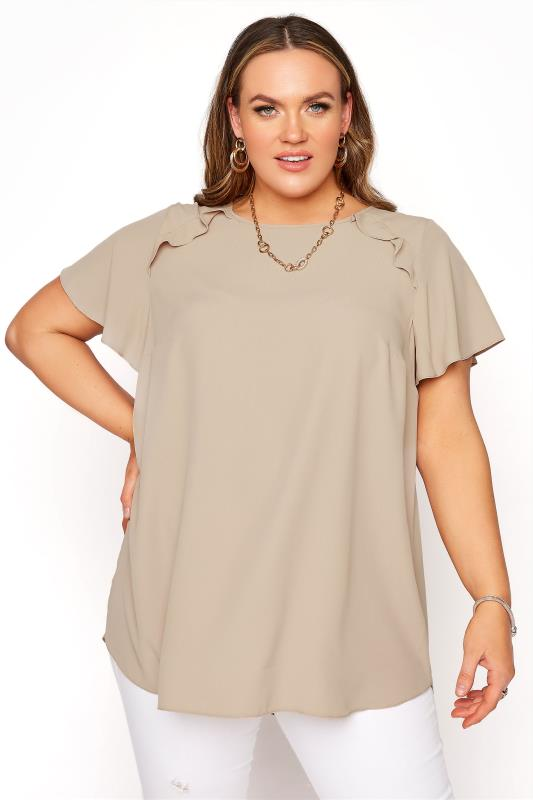 Plus Size  Camel Angel Sleeve Frill Shoulder Tunic