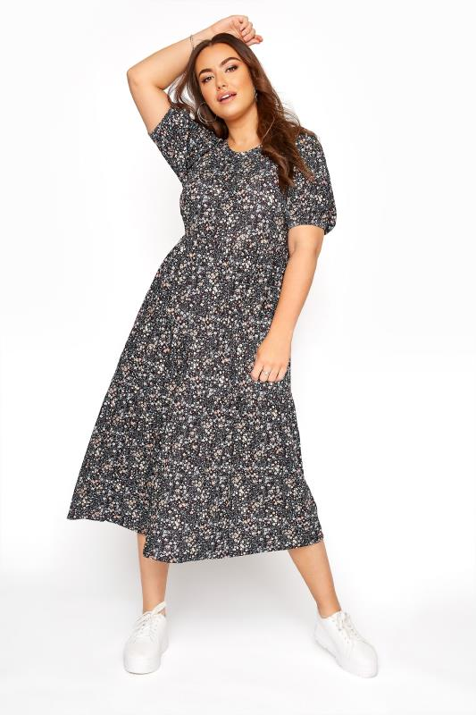 Plus Size  Black Puff Sleeve Ditsy Floral Midaxi Dress