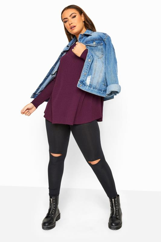 LIMITED COLLECTION Damson Purple Ribbed Long Sleeve Top