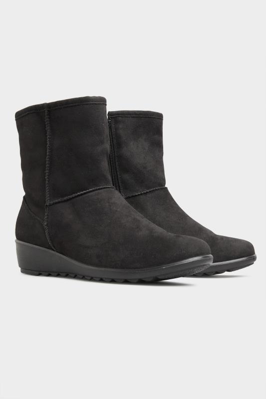 Black Vegan Suede Wedge Heel Boots In Extra Wide Fit_B.jpg