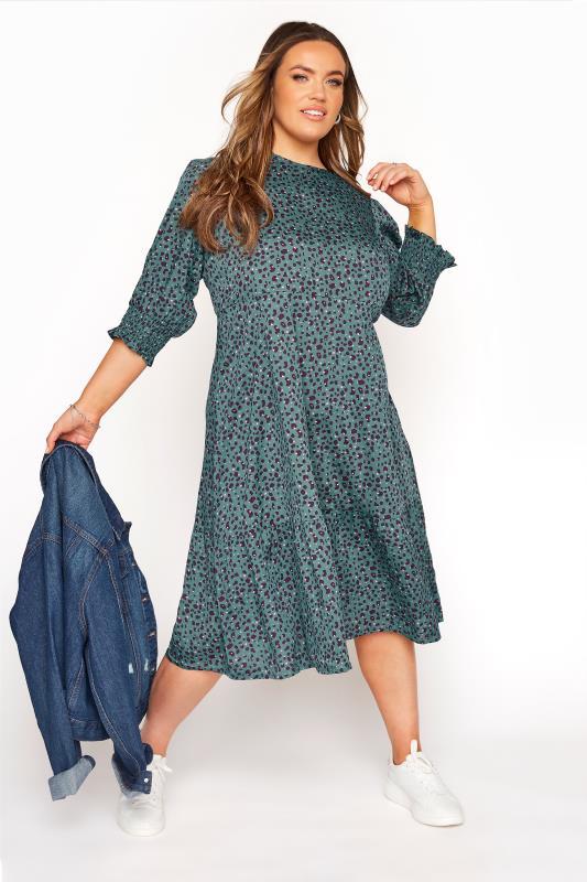 YOURS LONDON Teal Blue Animal Print Smock Midi Dress