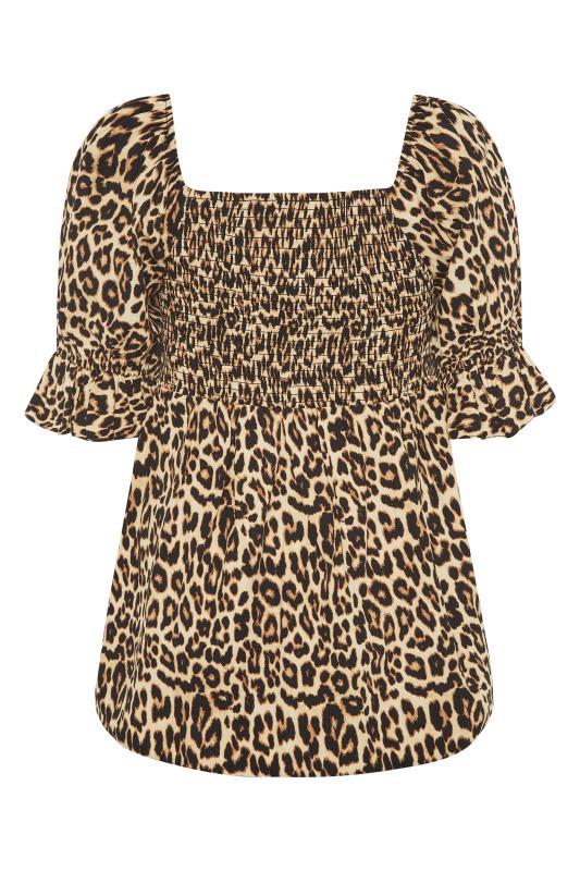 THE LIMITED EDIT Beige Leopard Print Shirred Peplum Top_BK.jpg