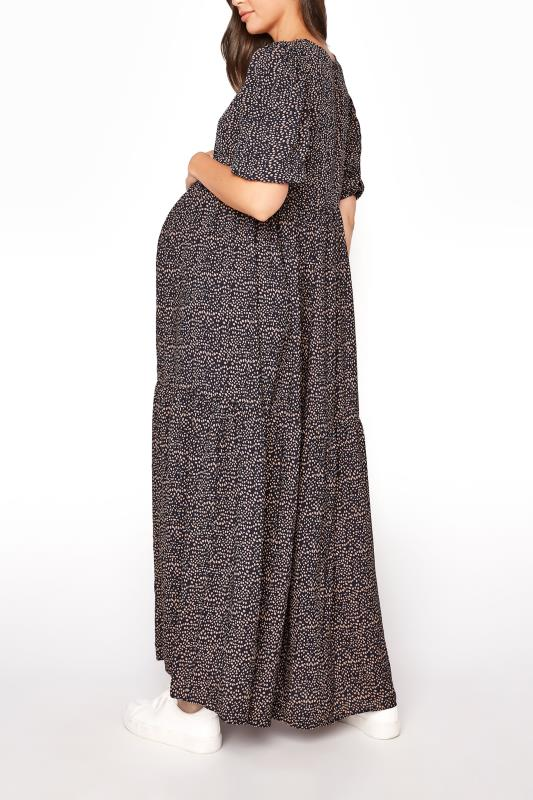 LTS Maternity Navy Speckled Smock Maxi Dress_C.jpg