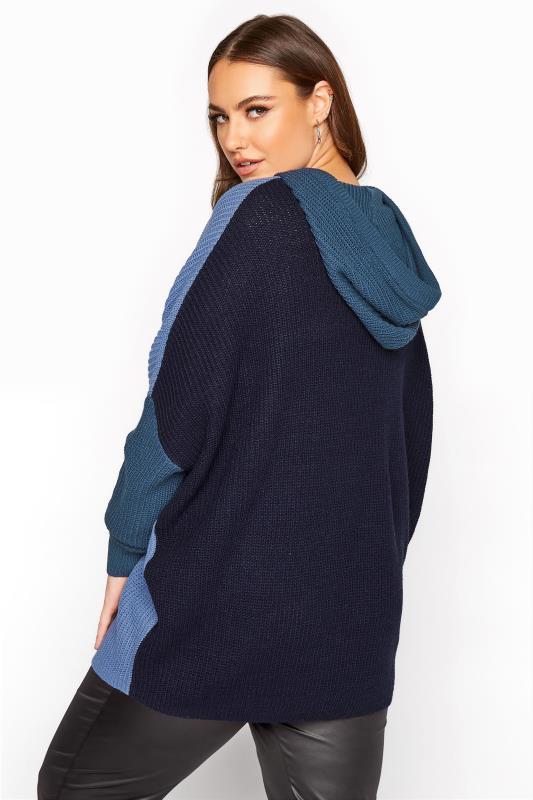 Dusty Blue Colour Block Oversized Knitted Hoodie_C.jpg