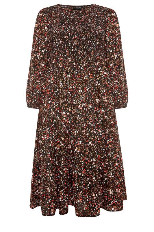 Black Floral Shirred Midaxi Dress_F.jpg