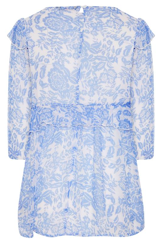 LIMITED COLLECTION Light Blue Frill Floral Blouse_BK.jpg