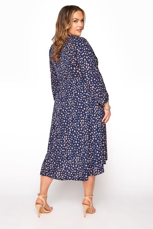 YOURS LONDON Navy Dalmatian Print Wrap Dress_C.jpg
