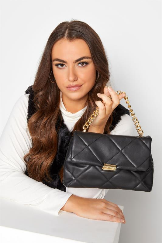Plus Size  Black Quilted Chain Handle Bag