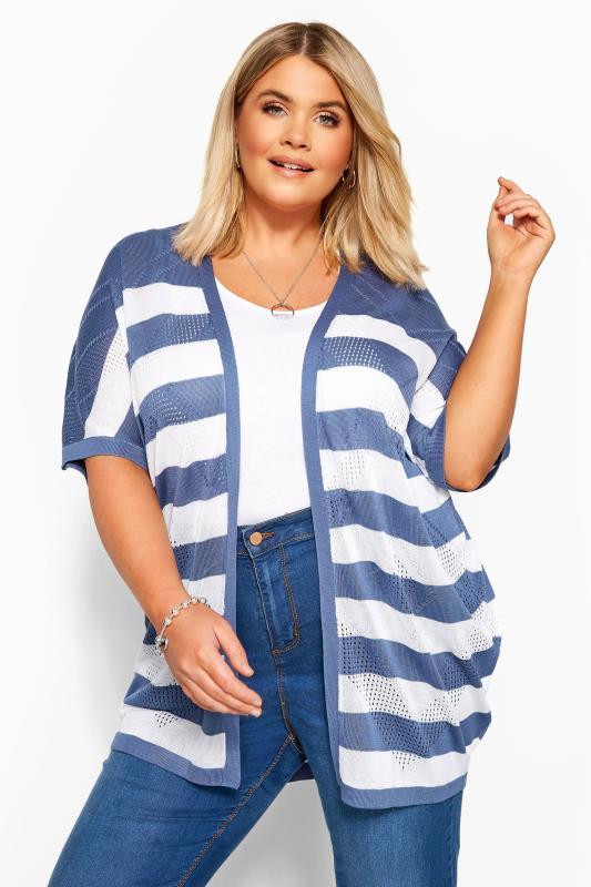 Plus Size Cardigans Blue & White Stripe Pointelle Cocoon Cardigan