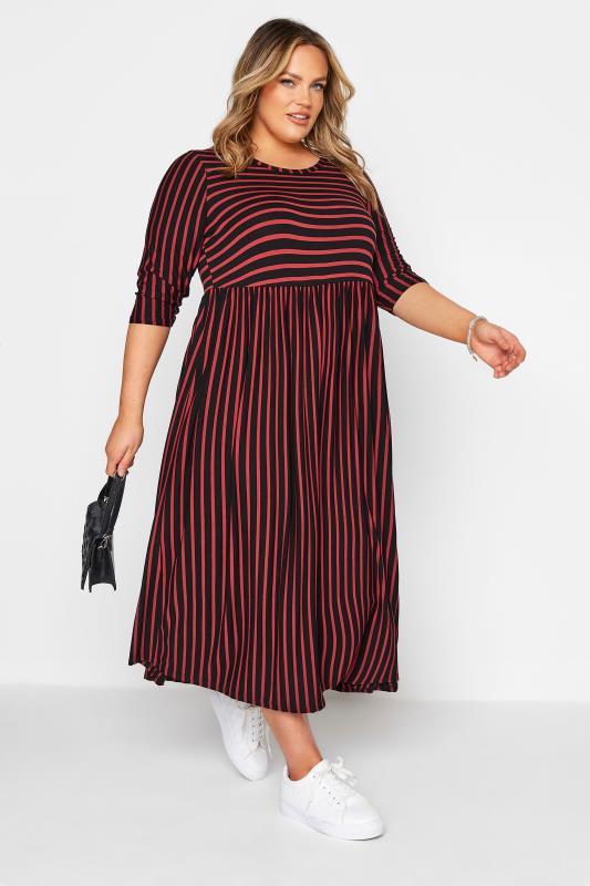 LIMITED COLLECTION Black & Rust Stripe Midaxi Dress_B.jpg