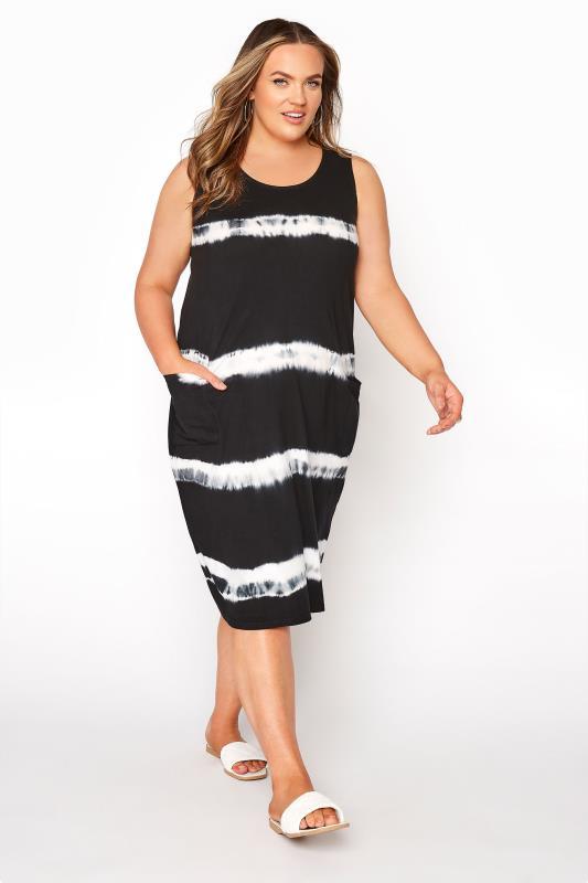 Plus Size  Black Tie Dye Dress