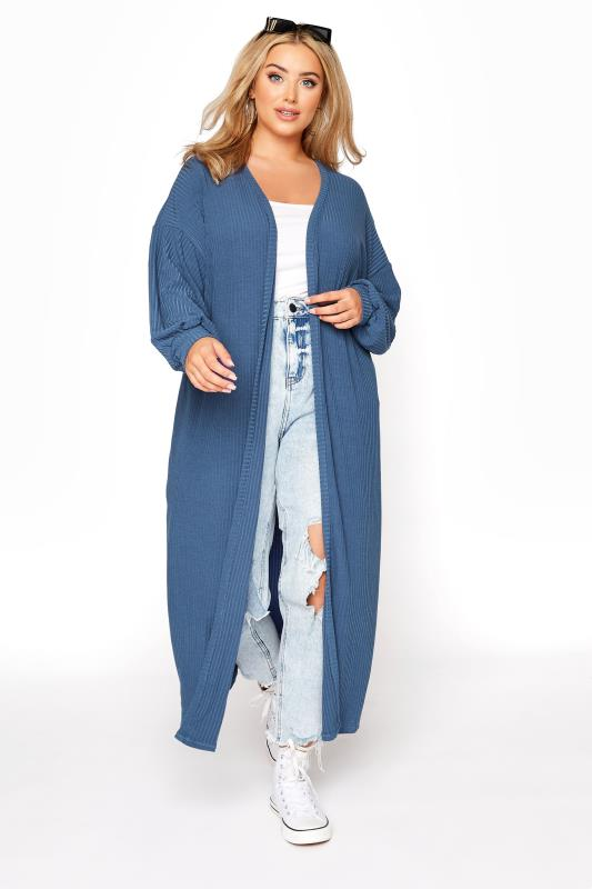 Plus Size  LIMITED COLLECTION Dark Denim Blue Ribbed Long Cardigan