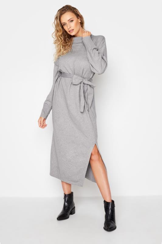 LTS Grey Roll Neck Knitted Midi Dress_A.jpg