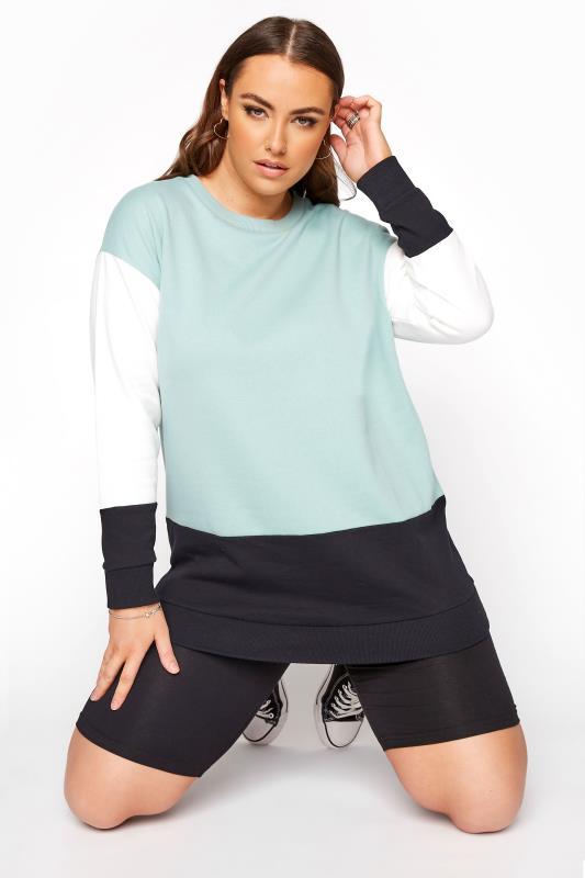 Plus Size  Sage Green Colourblock Sweatshirt