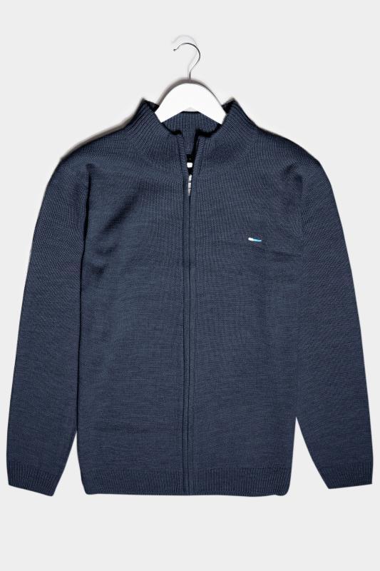 Men's  BadRhino Navy Essential Full Zip Knitted Jumper