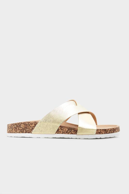 Gold Cross Strap Sandals In Extra Wide Fit_A.jpg