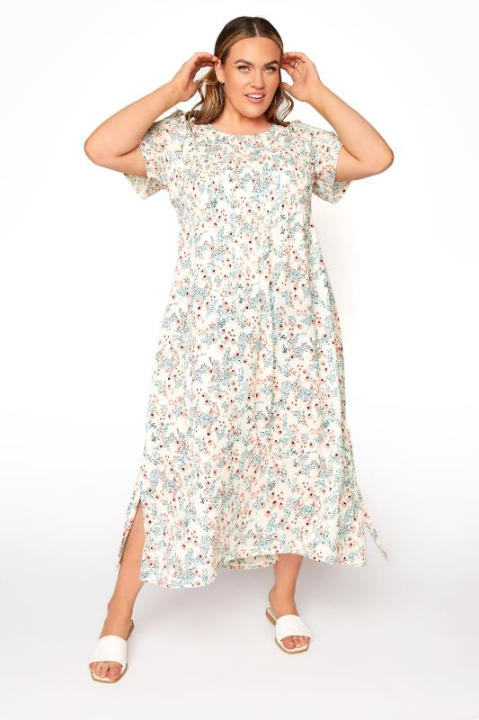 Plus Size  LIMITED COLLECTION White Floral Shirred Maxi Dress