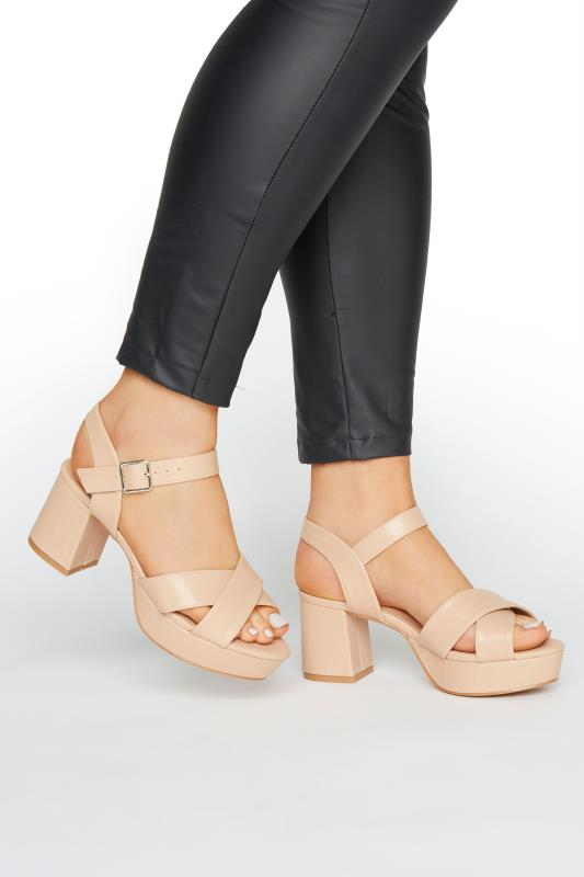 LIMITED COLLECTION Nude Platform Heeled Sandals In Extra Wide Fit