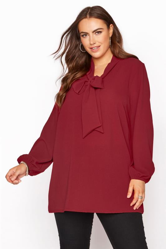YOURS LONDON Burgundy Bow Blouse_A.jpg