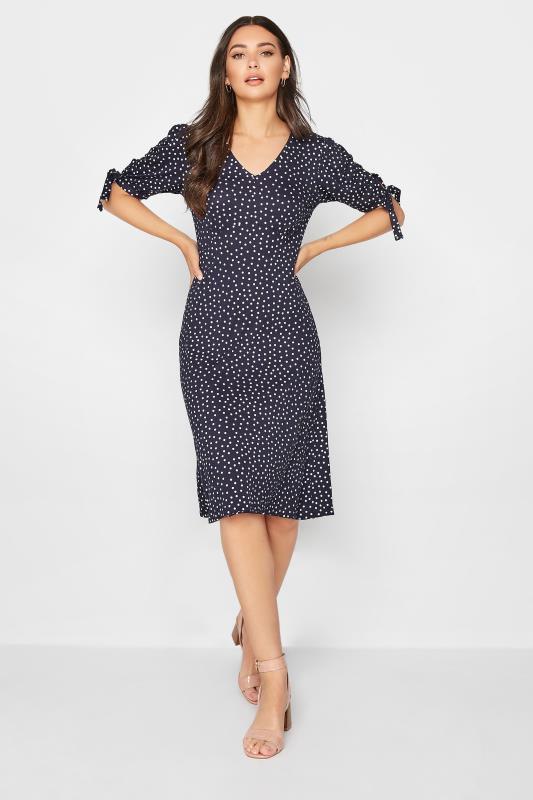 Tall  LTS Navy Polka Dot Tie Sleeve Midi Dress
