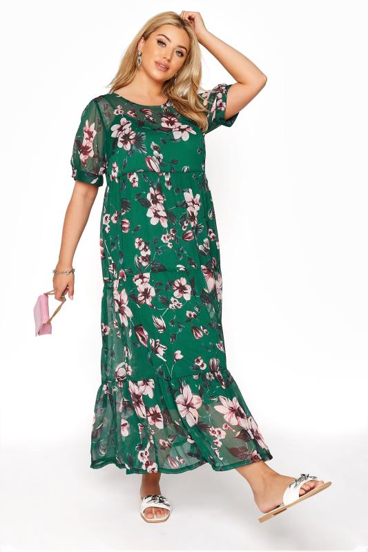 Großen Größen  LIMITED COLLECTION Green Floral Print Tiered Maxi Dress