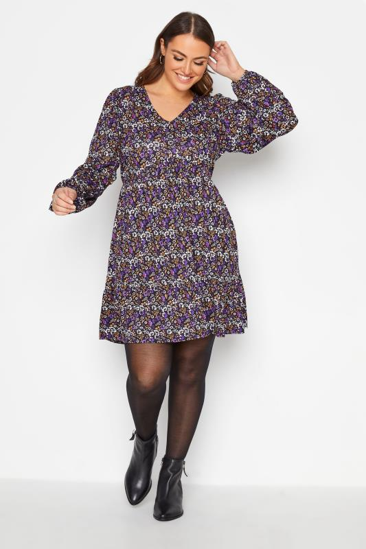 Plus Size  YOURS LONDON Black Ditsy Floral Smock Tunic