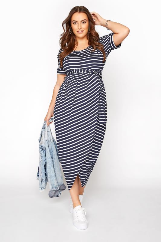 BUMP IT UP MATERNITY Navy Stripe Tie Waist Wrap Dress_A.jpg