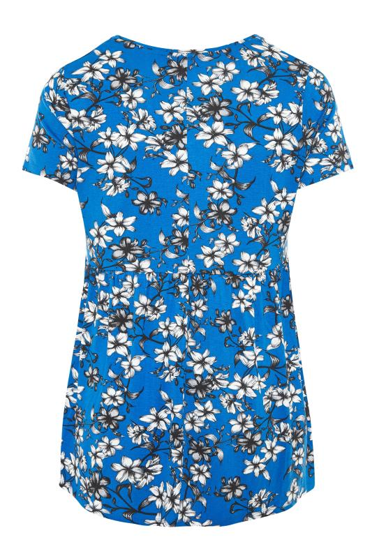 BUMP IT UP MATERNITY Blue Floral Smock Top_BK.jpg