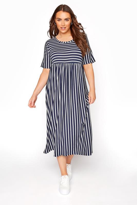 Grande Taille Navy Stripe Midi Dress