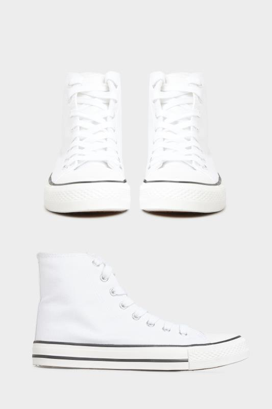 White Canvas High Top Trainers In Wide Fit