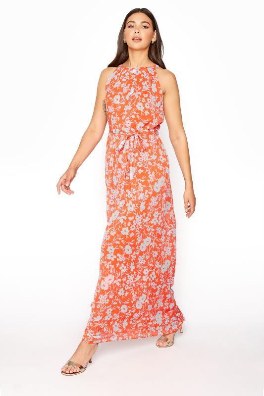 LTS Orange Floral Halter Neck Maxi Dress_A.jpg