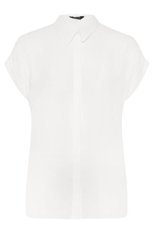 White Short Grown On Sleeve Dipped Hem Shirt_F.jpg