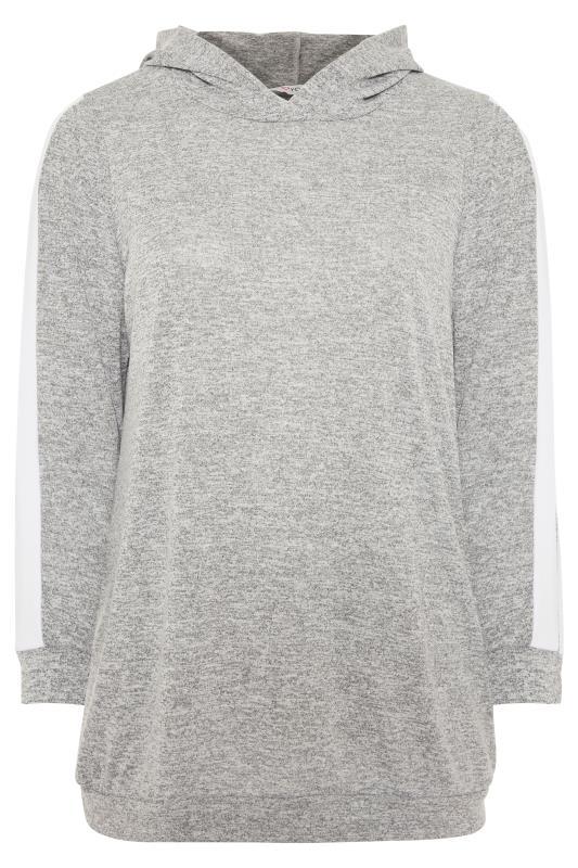 Hoodie met zijstreep in gemêleerd grijs