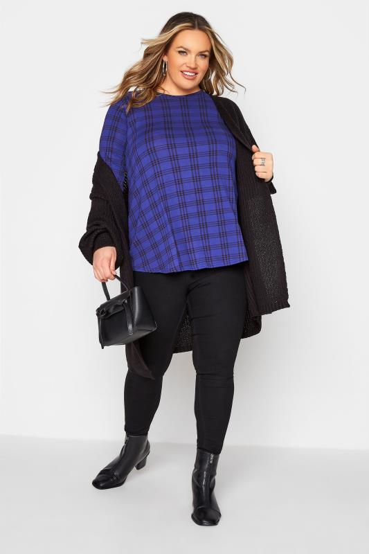 LIMITED COLLECTION Cobalt Blue Check Print Swing Top_B.jpg