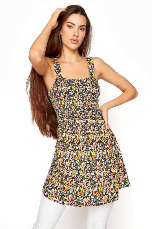 LTS Multicoloured Floral Shirred Square Neck Vest