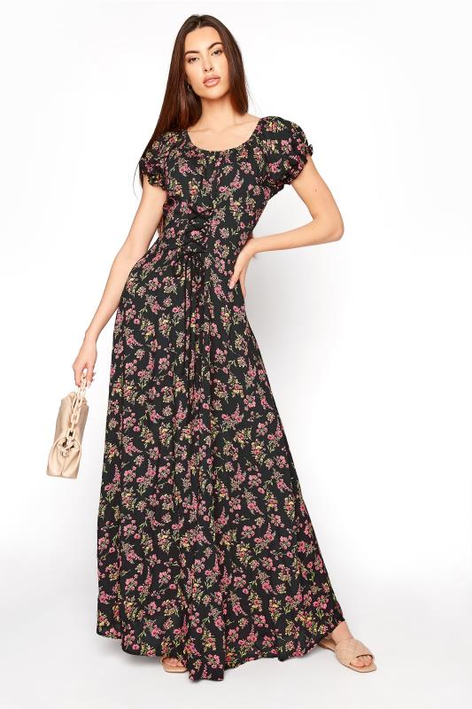 LTS Black Floral Puff Sleeve Corset Maxi Dress