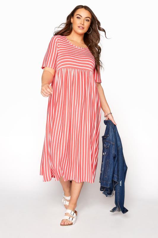 Plus Size  Coral Stripe Dress