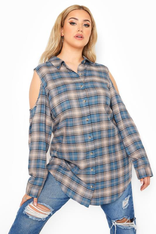 Plus Size  LIMITED COLLECTION Blue Check Cold Shoulder Shirt