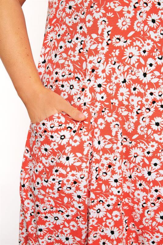 Coral Floral Sleeveless Drape Pocket Dress_D.jpg