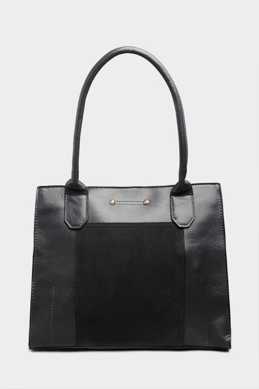 Black Faux Vegan Suede Panel Shoulder Bag
