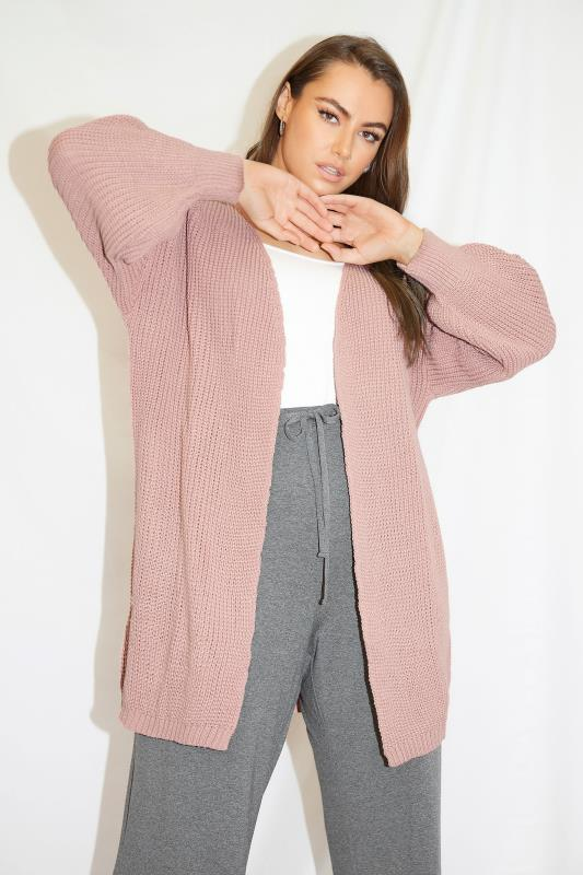 Pink Oversized Balloon Sleeve Knitted Cardigan