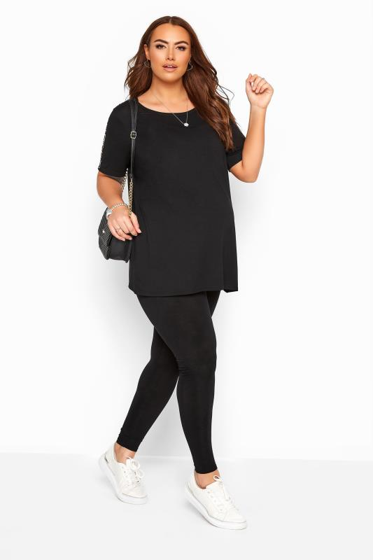 Maternity Leggings Grande Taille BUMP IT UP MATERNITY Black Jersey Leggings