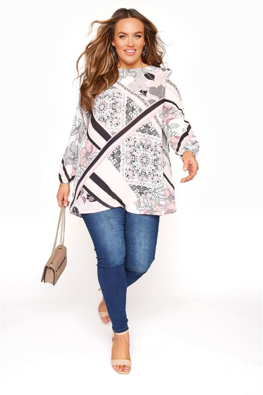 YOURS LONDON - Blouse met sjaalprint in roze