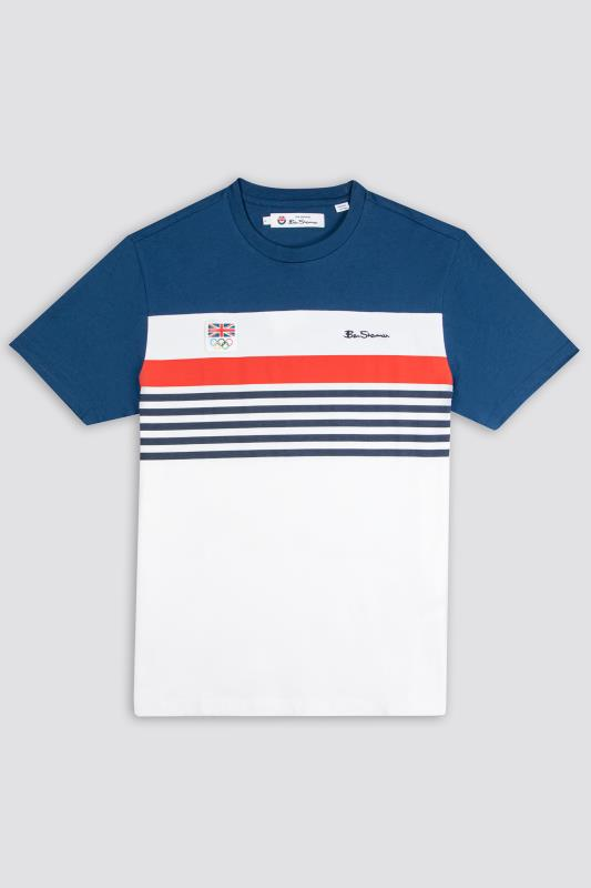 Plus Size  BEN SHERMAN White Official Olympic Chest Stripe T-Shirt