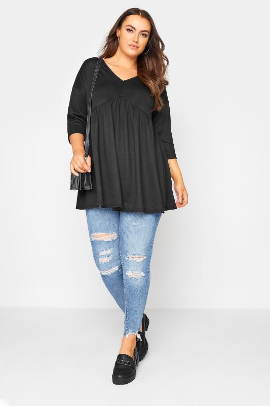 Black V-Neck Knitted Peplum Top_B.jpg